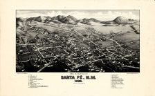 Santa Fe 1882c Bird's Eye View 24x38, Santa Fe 1882c Bird's Eye View